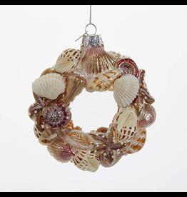 Kurt Adler Noble Gems Sea Shells Wreath Christmas Ornament 4 inch