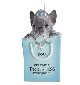 Kurt Adler Bulldog Puppy In Gift Bag Ornament You Are Simply Priceless