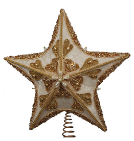 Kurt Adler Christmas Star Tree Topper Ivory Gold w Glitter Beading and Cording