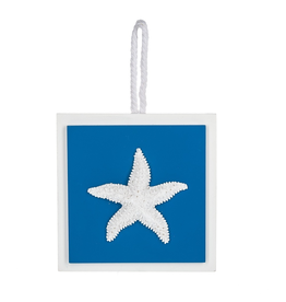 Midwest-CBK Decorative Square Wall Plaque on Rope Hanger Starfish