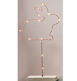Twos Company LED Lighted Wire Bunny Statue Pink Twos Company