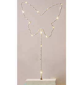 Twos Company LED Lighted Wire Butterfly Statue White Twos Company