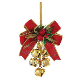 Kurt Adler Red Gold Bow w Mistletoe Metal Bells Cluster -BALL