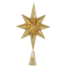 Kurt Adler Christmas Star Burst Tree Topper 6.75 Inch GOLD