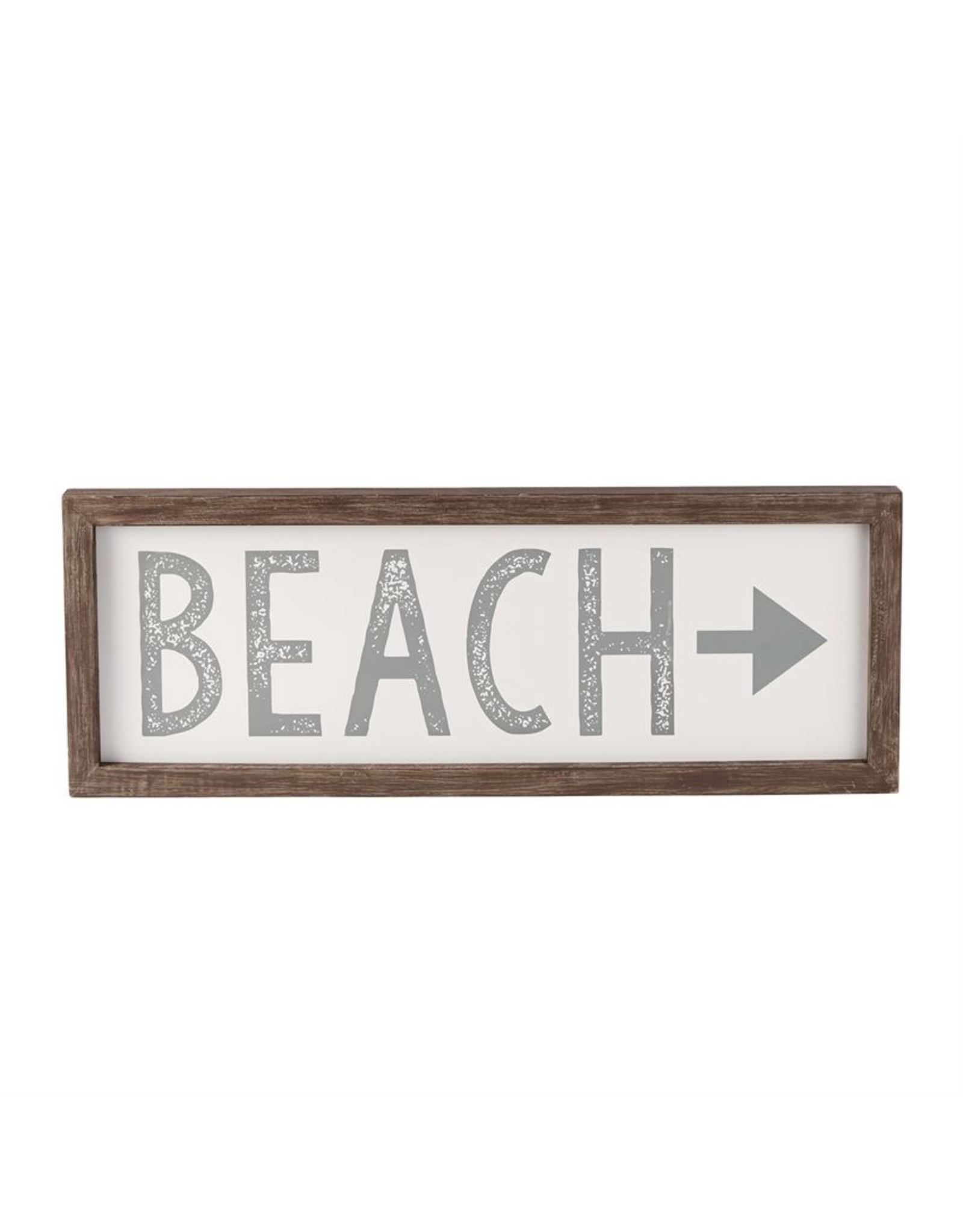 Mud Pie Beach Arrow Plaque w Raised Wooden Boarder 9.5x16