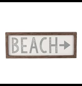 Mud Pie Beach Arrow Plaque w Raised Wooden Boarder 9.5x16