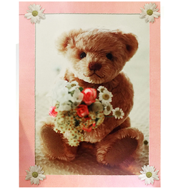 Mothers Day Card Teddy Bear With Flowers