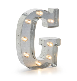 Darice LED Light Up Marquee Letter G 5915-708 Galvanized Silver Metal