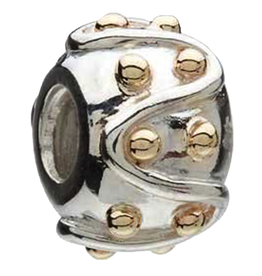 Chamilia Charm Swirls Gold Dots Mixed Silver 14K Bead KD-16 Chamilia