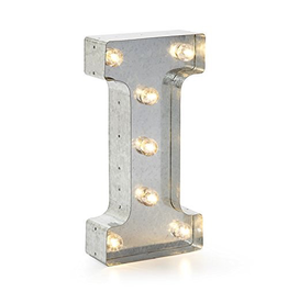 Darice LED Light Up Marquee Letter I 5915-710 Galvanized Silver Metal