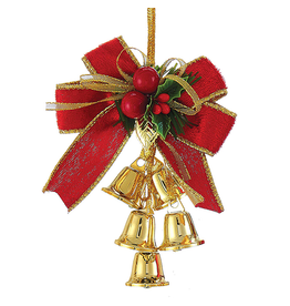 Kurt Adler Red Gold Bow w Mistletoe Metal Bells Cluster -BELL