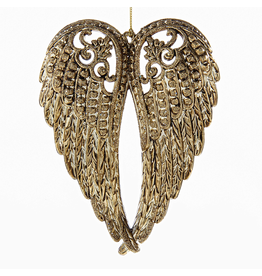 Kurt Adler Angel Wings Gold Electroplate Christmas Ornament 5 Inch