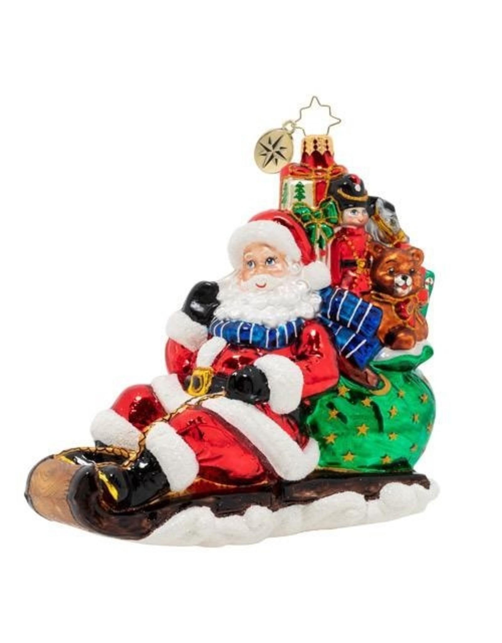 Christopher Radko Timely Toboggan Delivery Santa Sledding Christmas Ornament