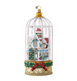 Christopher Radko Snowy Victorian Cage Cottage Ornament