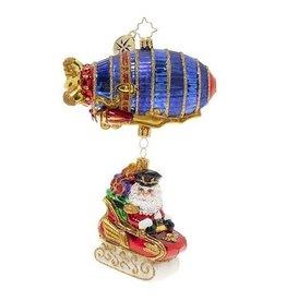 Christopher Radko Santa's Zipping Zeppelin Christmas Ornament