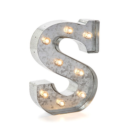 Darice LED Light Up Marquee Letter S 5915-719 Galvanized Silver Metal