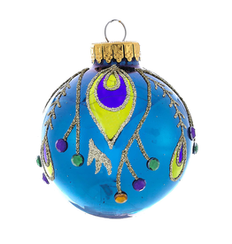 Kurt Adler Deco Peacock Glass Ball Christmas Ornaments 60mm Set of 4