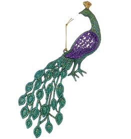 Kurt Adler Glittered Peacock Ornament 4.5 inch Teal Purple