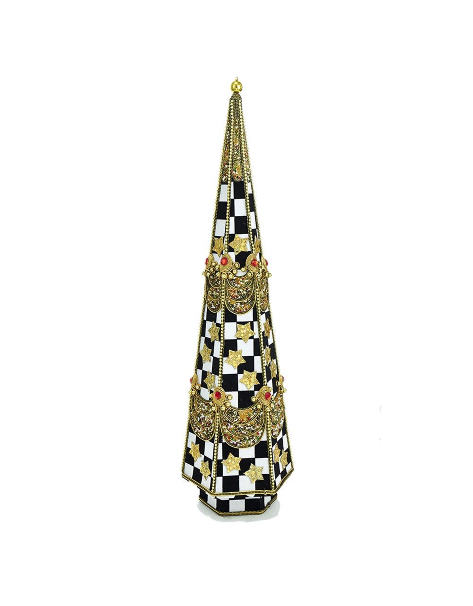 Kurt Adler Black White Checkered Table-piece w Gold Accents 20 inch