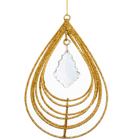 Kurt Adler Gold Glitter W Acrylic Crystal Teardrop Christmas Ornament