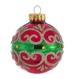 Kurt Adler Red Green Gold Glass Ball Christmas Ornament 60mm Set of 4