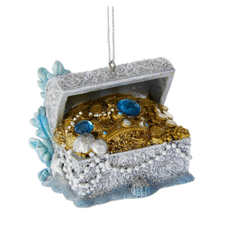 Kurt Adler Under The Sea Treasure Chest Christmas Ornament w Gems