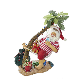 Kurt Adler Fabriche Beach Santa in Hammock Under Palm Tree Table-piece