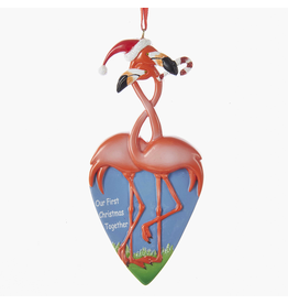Kurt Adler Our First Christmas Together Flamingo Couple Ornament