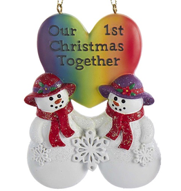 Kurt Adler Lesbian Snow-Women Couple First Christmas Together Ornament
