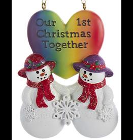 Kurt Adler Lesbian Snow-Women Couple First Christmas Together Ornament