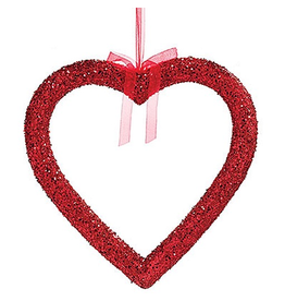 Burton and Burton Large Hanging Red Glittered Heart 20x20 inch