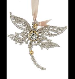 Kurt Adler Vintage Glamour Beads Gems Glittered Dragonfly Ornament TR
