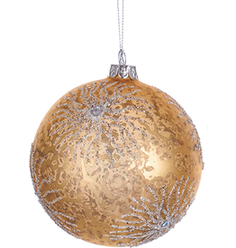 Kurt Adler Glass Ball Ornament w Glittered Coral Design n Gems 4in GOLD
