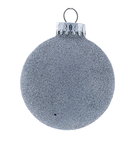 Kurt Adler Silver Glitter Glass Ball Christmas Ornament 80mm Set of 4