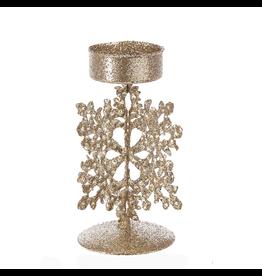 Kurt Adler Gold Glitter Tin Snowflake Tea-Light Candle Holder