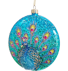 Kurt Adler Glittered Peacock Glass Disc Ornament - Blues