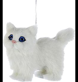 Kurt Adler Christmas Ornament Plush Cat White 4 inch