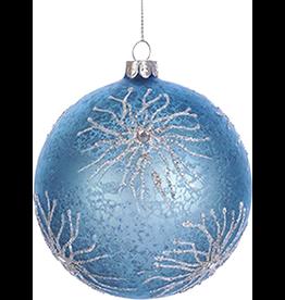 Kurt Adler Glass Ball Ornament w Glittered Coral Design n Gems 4in BLUE