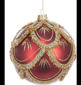 Kurt Adler Red Gold Design Glass 4 Inch Ornament W Gems Ball Shape