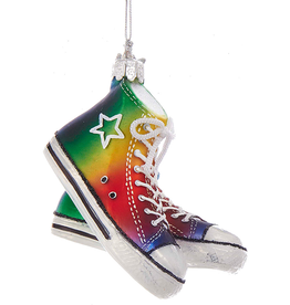 Kurt Adler Glass Gay Pride Sneakers Ornament 4 inch Noble Gems