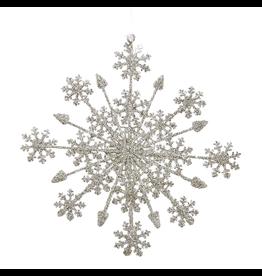 Kurt Adler Glittered Snowflake Christmas Ornament 7.25in Silver