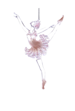 Kurt Adler Ballerina in Tutu w Pink Glitter Acrylic Ornament Head Up