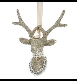 Kurt Adler Vintage Glamour Glass Glitter Reindeer Head Ornament 6in