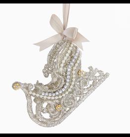 Kurt Adler Vintage Glamour Gems w Glitter Sleigh Ornament 4.5x3 inch