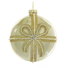 Kurt Adler Gold Ribbon Ball Ornament With Clear Jewels 4 inch