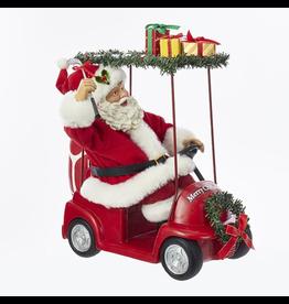 Kurt Adler Fabriche Santa Driving Golf Cart Table Piece Figurine