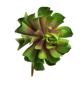 Darice Faux Succulent Green Lotus Rosette w Pink Center 4 inch