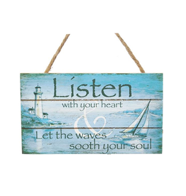 Kurt Adler Mini Wooded Beach Plaque w Listen With Your Heart