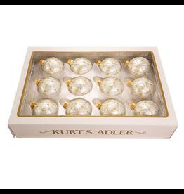 Kurt Adler Christmas Ball Ornaments 60MM Set of 12 Silver w Gold
