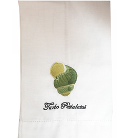 Peking Handicraft Hand Towel w Embroidered Shell Turbo Petholatus